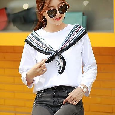 Butterfly BB Chaqueta de otoño salvaje cuello redondo camisa blanca estudiante coreana manga larga camiseta mujer sección larga camisa,XXL: Amazon.es: Ropa y accesorios
