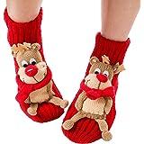 Christmas Socks, Coxeer Women Girls Lovely Cartoon Cute Woolen Stockings