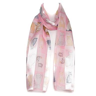 a4b3cbfe03aa6 Filles Femmes écharpe en mousseline de satin foulard motif à  carreaux/rayures rose race de chat châle: Amazon.fr: Vêtements et  accessoires