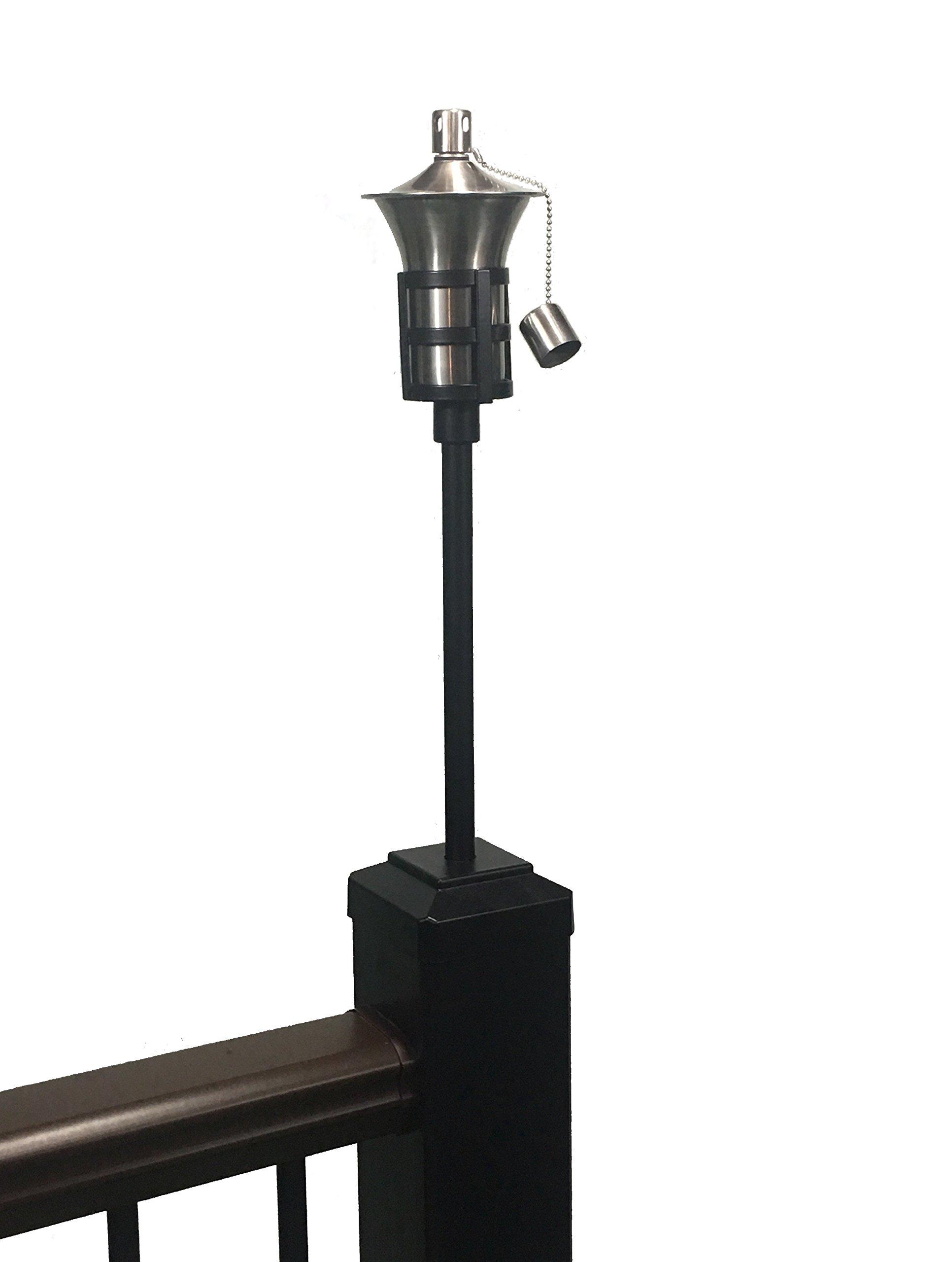 Tru-Post Oil Lamp (Tiki Torch) That fits a Standard 4.5'' Trex Transcend Railing Post (Black)