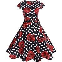 007XIXI Vintage Dress 20S,Women Vintage Bodycon Short Sleeve Casual Retro Evening Party Prom Swing Dress