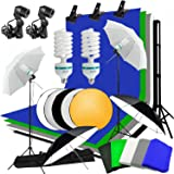 Abeststudio Studio Umbrella Continuous Lighting Backdrop Kit - 5X 1.6*3m Backdrops (White,Green,Black,Gray,Blue) + 4X Umbrellas + 2X 135W Light Set + Background Support Stand System + Lighting Stand + 60cm 5 in 1 Reflector Panel