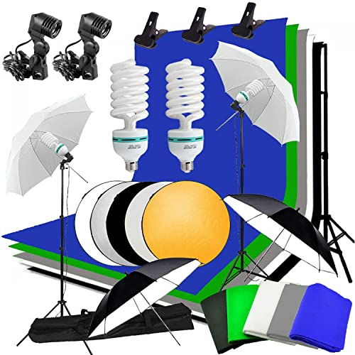 Abeststudio Studio Umbrella Continuous Lighting Backdrop Kit - 5X 1.6*3m Backdrops (White,Green,Black,Gray,Blue) + 4X Umbrellas + 2X 135W Light Set + 2x3m Background Support Stand System