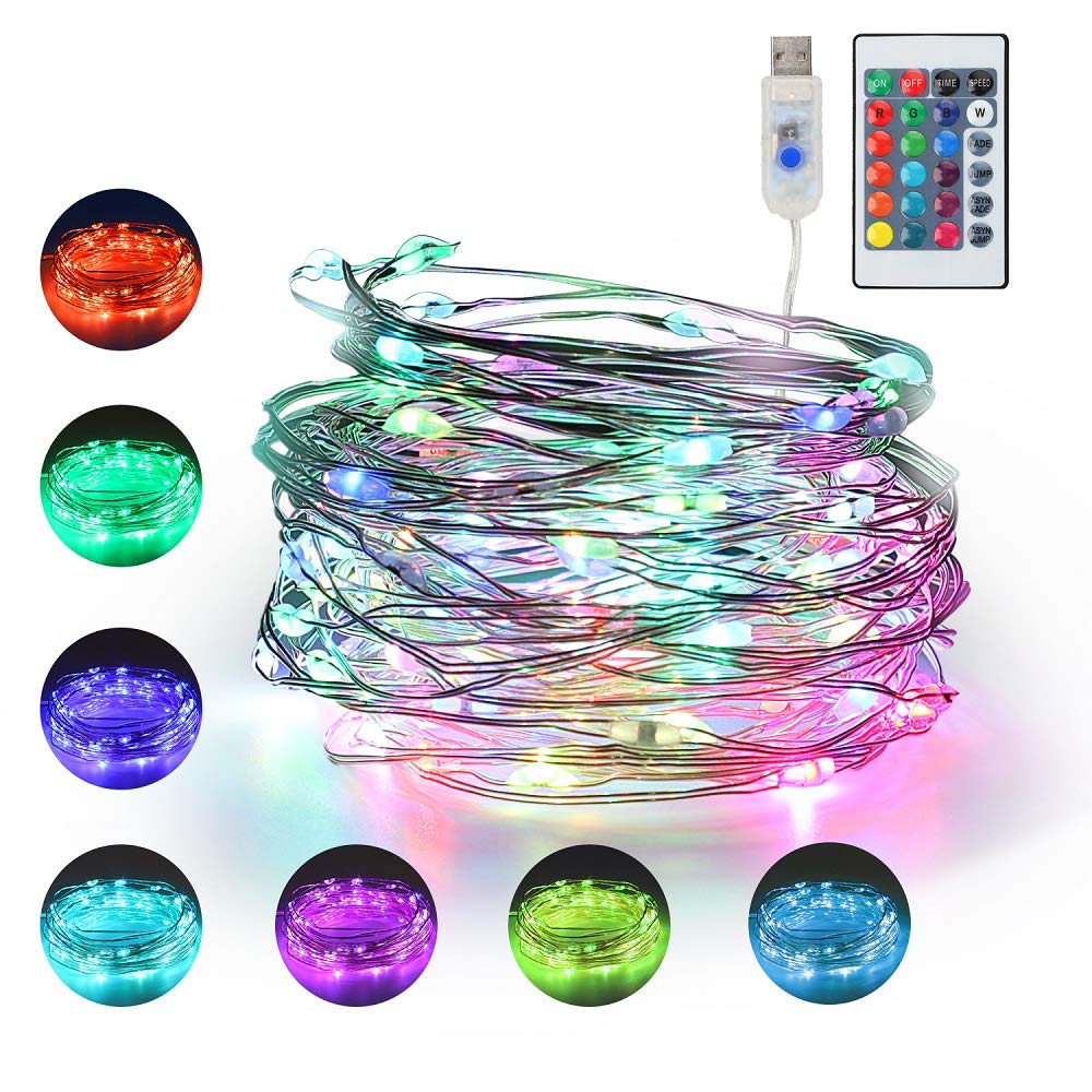 16 Multi Color Changing Fairy Lights USB Powered with Remote Control,33ft 100 RGB LED Bright Silver Wire Starry String Lights for Christmas Tree, Wedding Party, Indoor, Garden, Bedroom Holiday Decor