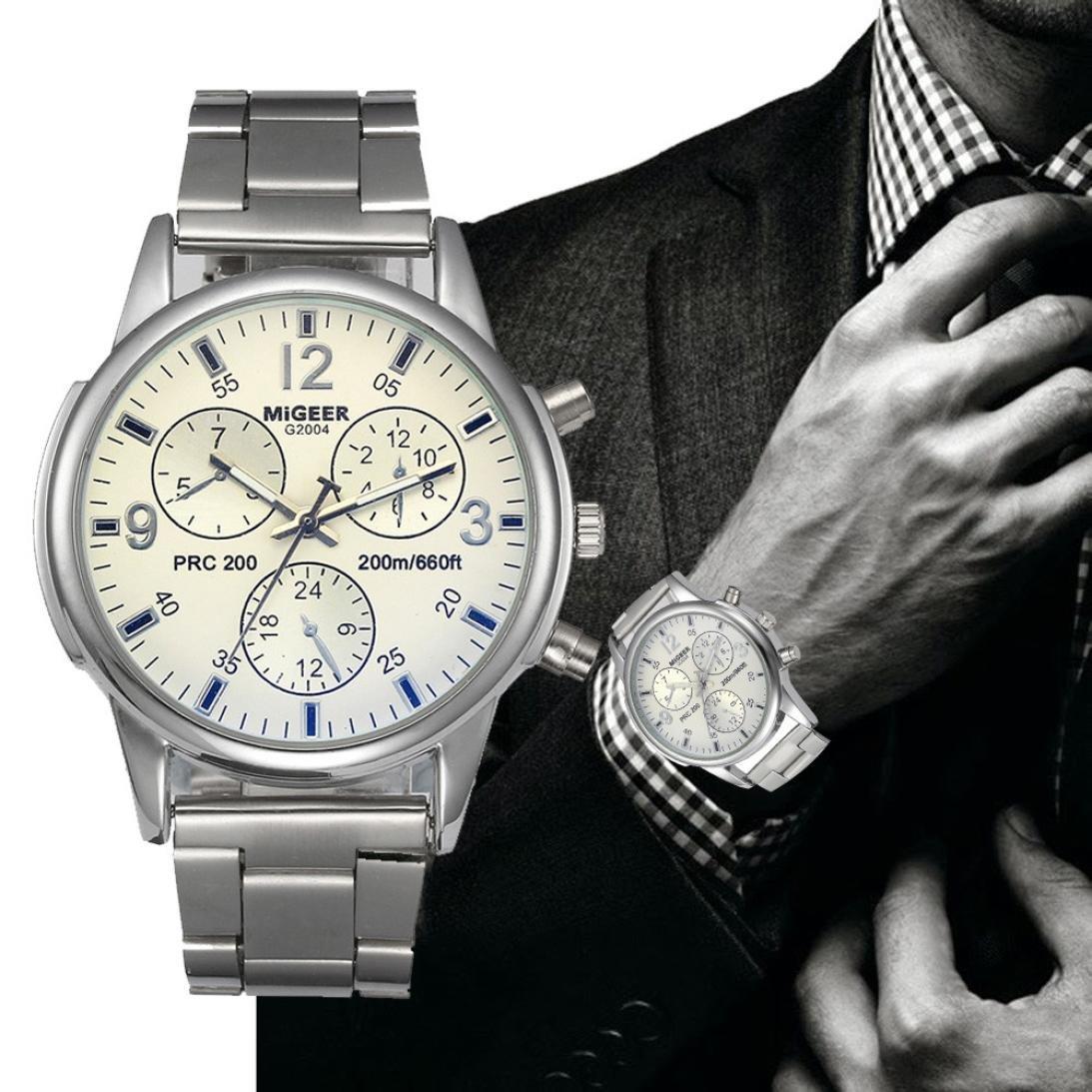 Pocciol Watch, Mens Fashion Crystal Stainless Steel Analog Quartz Wristwatch Simple Watches (White)