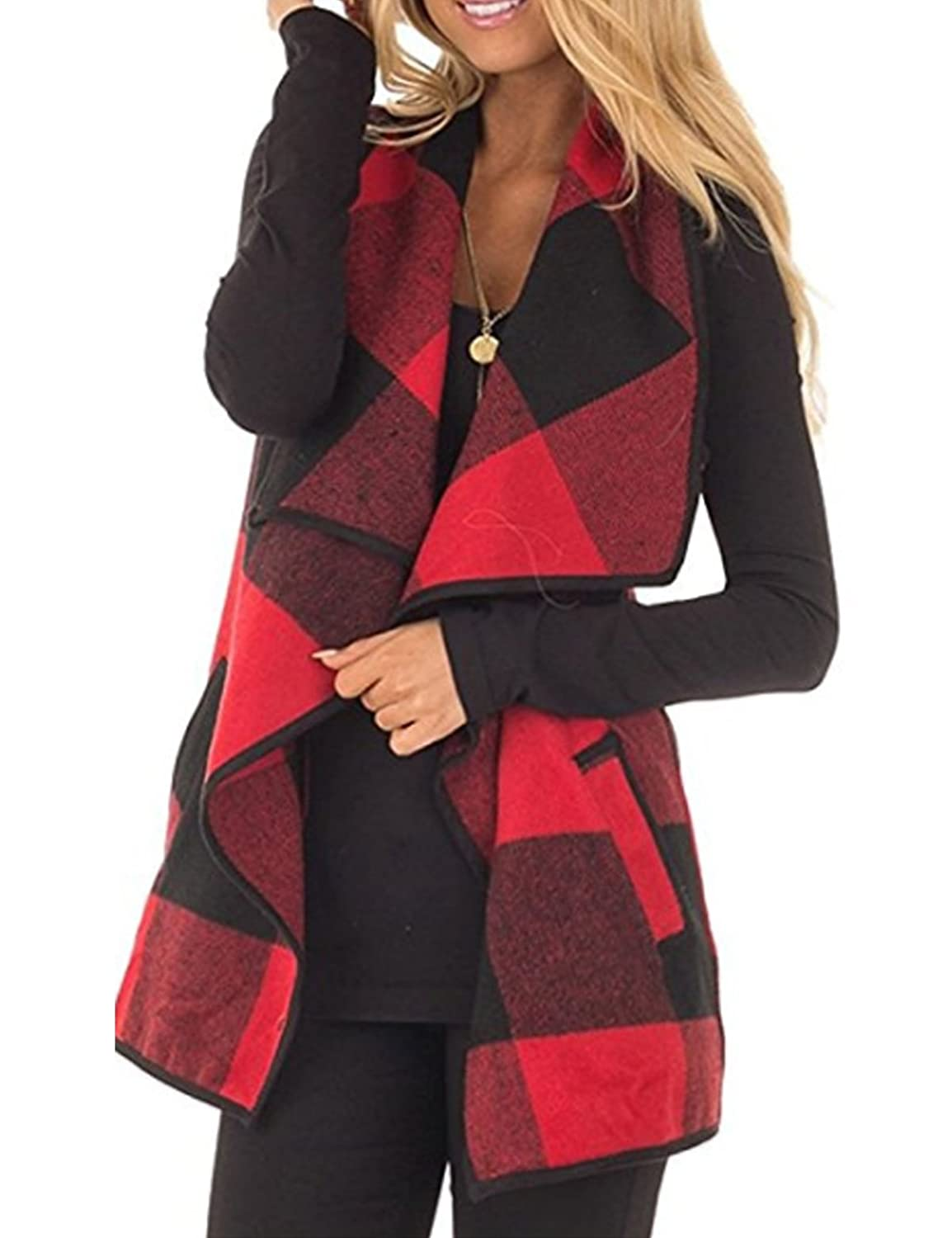 Wollsolo Womens Lapel Open Front Sleeveless Plaid Vest Cardigan ...