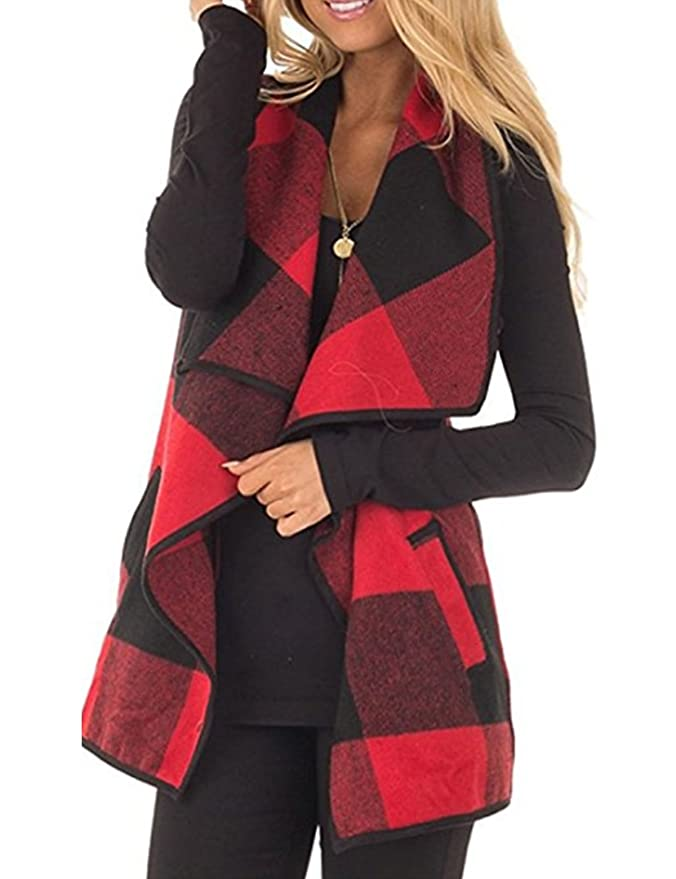 CXINS Womens Fashion Lapel Open Front Sleeveless Plaid Vest Cardigan Coat with Pocket Size M Black and Red