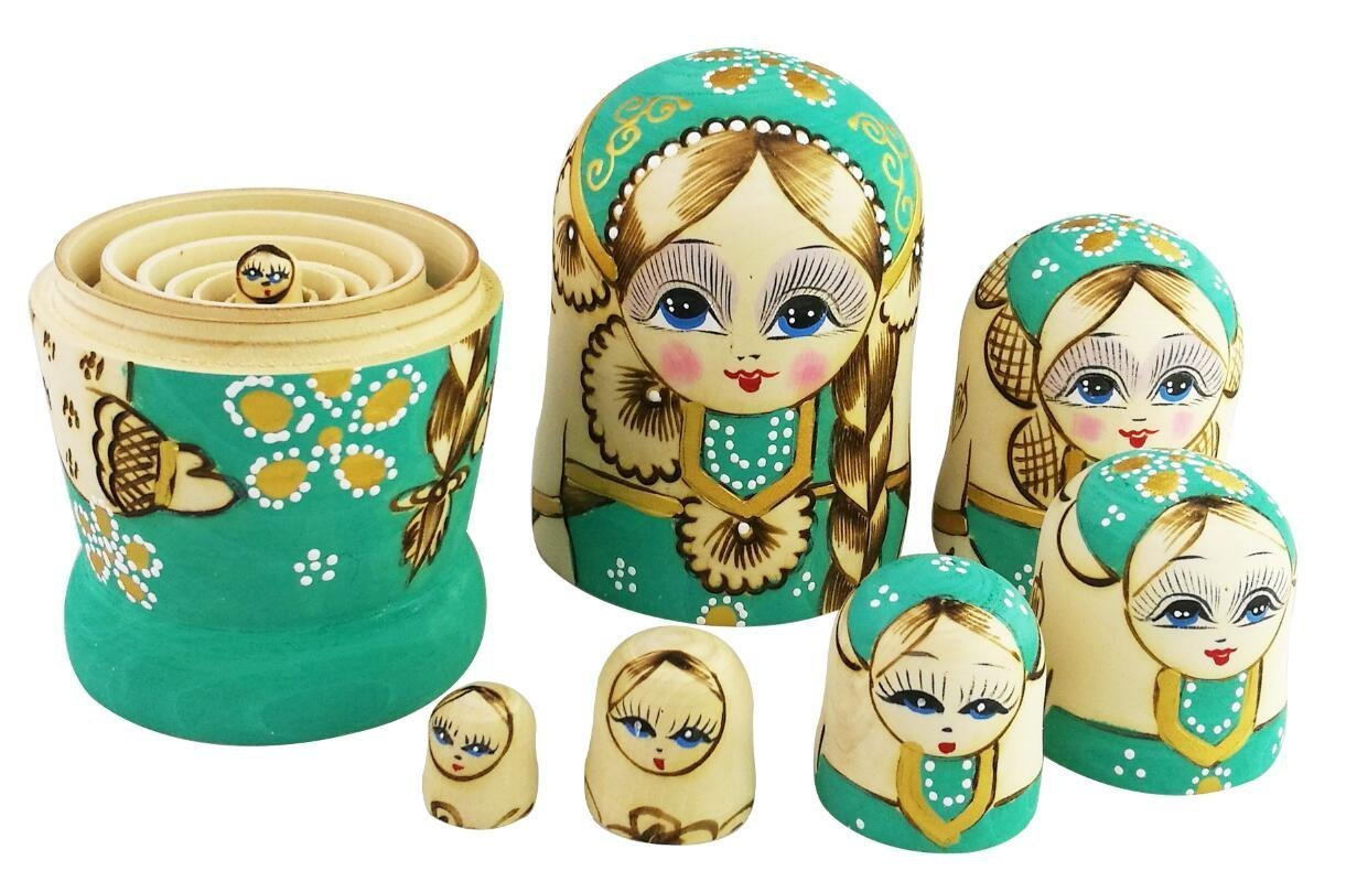 Winterworm Cute Little Girl With Big Braid Handmade Matryoshka Wishing Dolls Mother's Day Gifts Russian Nesting Dolls Set 7 Pieces Wooden Kids Gifts Toy Home Decoration Green by Winterworm (Image #6)