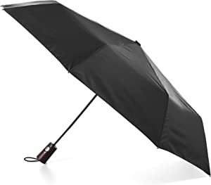 totes Automatic Open Wooden Handle Umbrella, Black