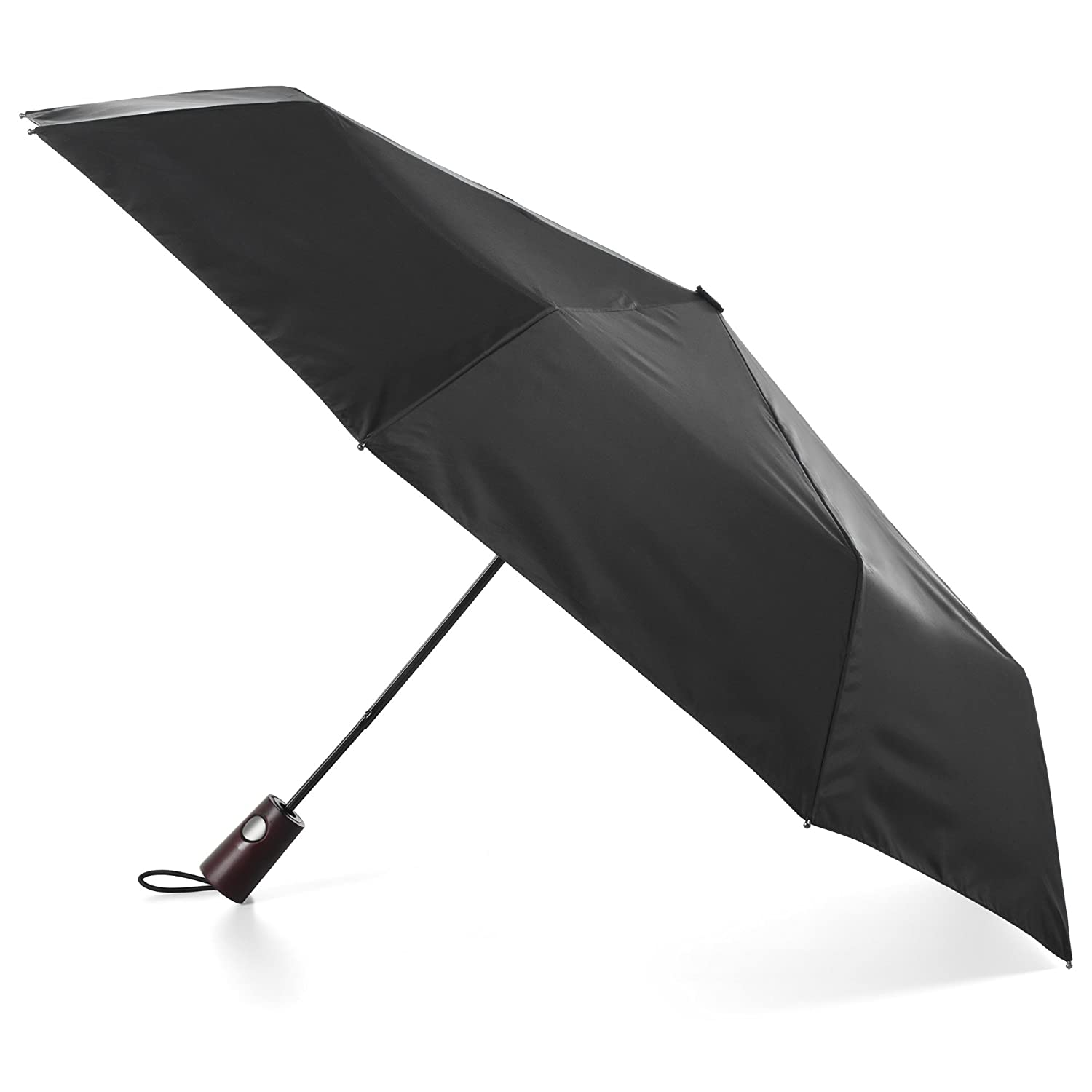 good totes Auto Open Wooden Handle Umbrella,  Black
