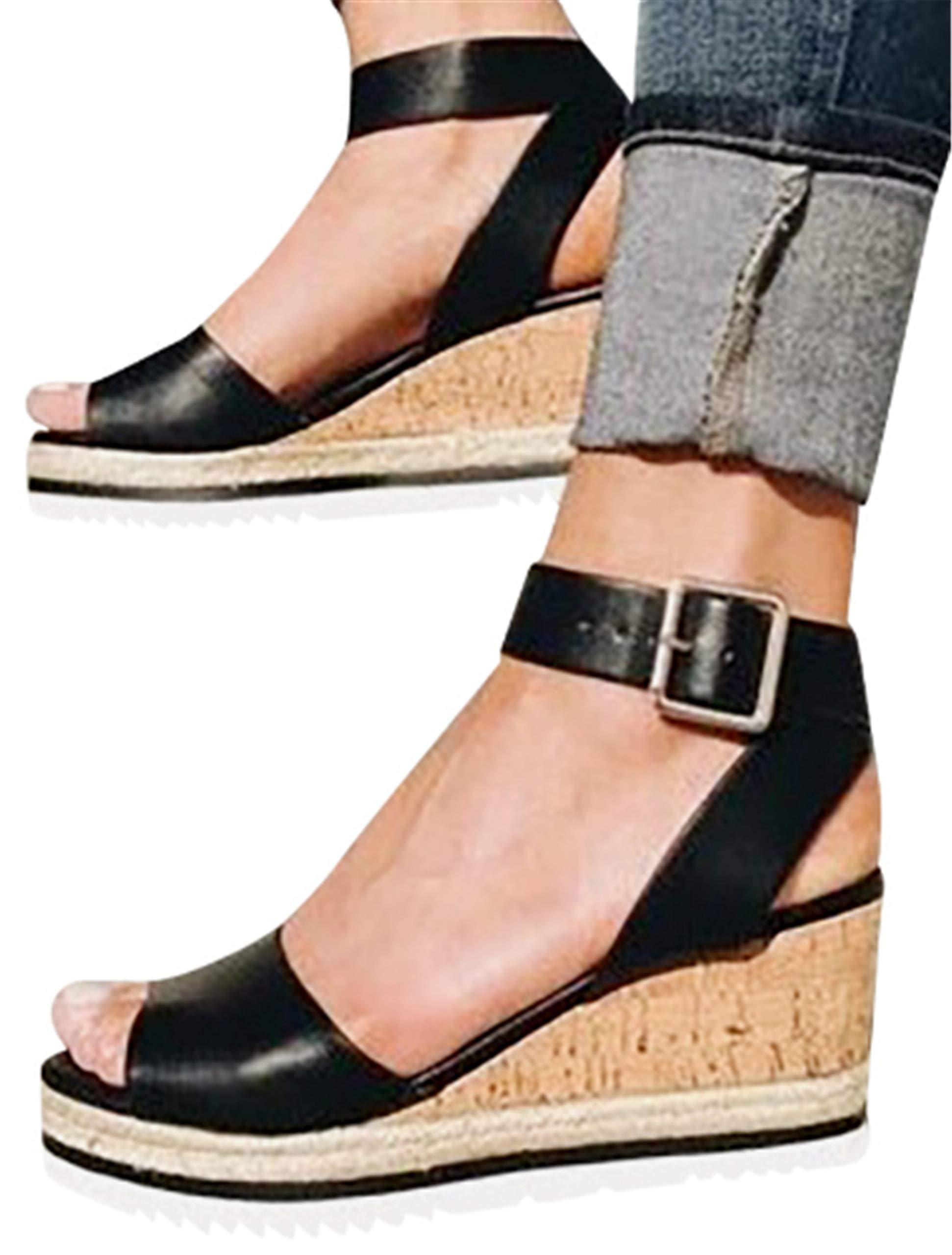 Gyouanime Women Ankle Strap Platform Wedges Sandals High Heel Wedge Sandals Dress Shoes Peep Toe Sandals Black