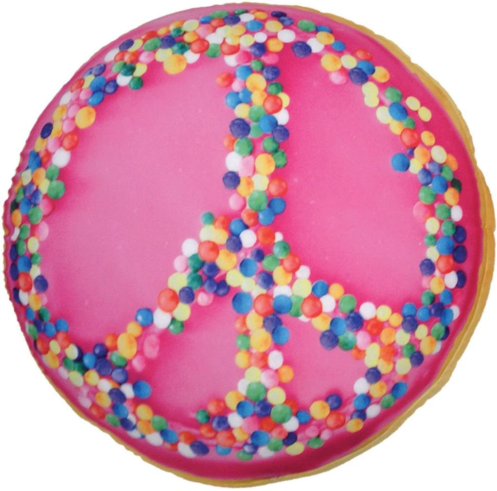 iscream Photoreal Peace Sprinkles Bi-Color Crème Donut Shaped 16'' Microbead Pillow