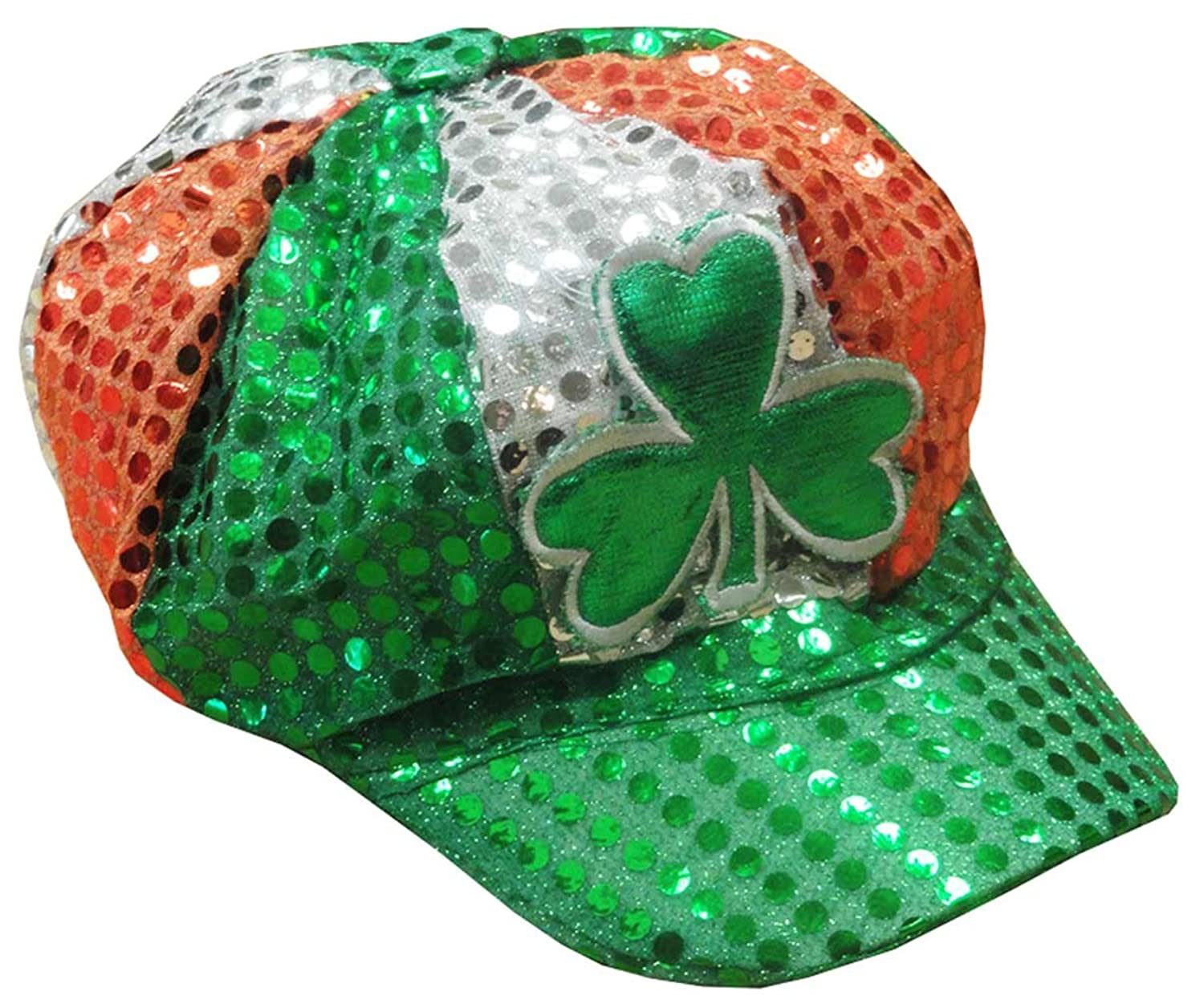 amazon com st patrick u0027s day tri color sequin shamrock newsboy