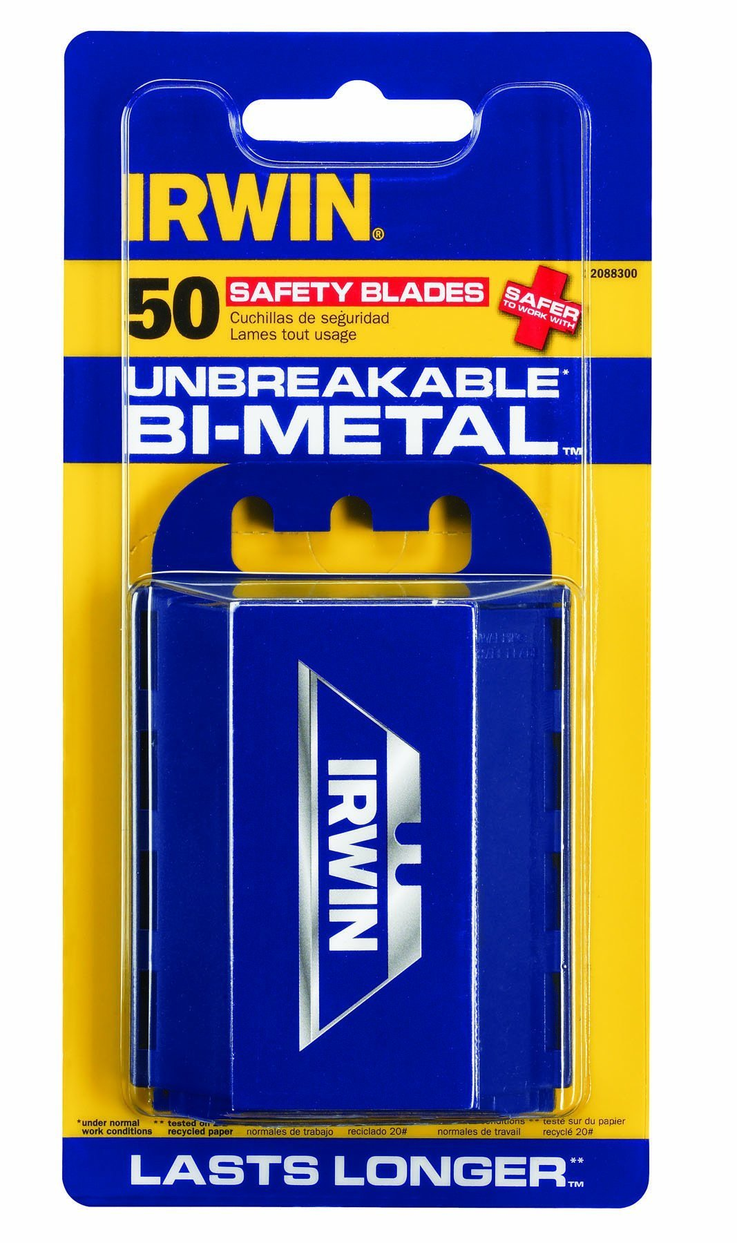 IRWIN 2088300 Safety Knife Blades, 50 Pack, Blue