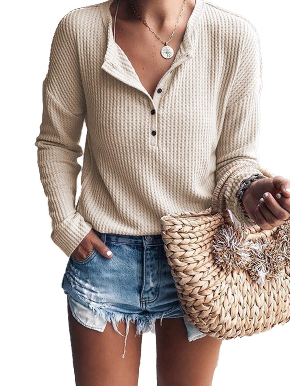 Famulily Women's Waffle Knit Tunic Tops Loose Long Sleeve Button Up V Neck Henley Shirts (Beige, Small) by Famulily