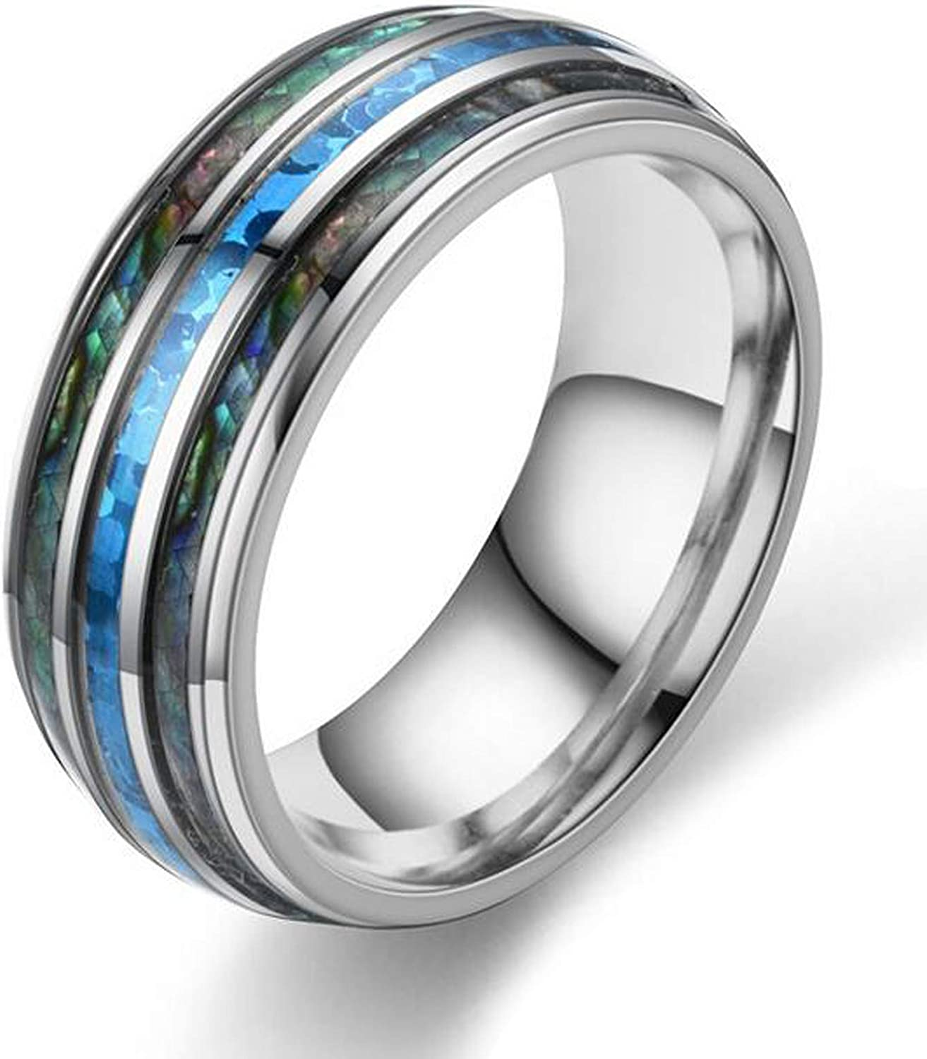 Titansten 8mm Blue Stainless Steel Rings with Carbon Fiber Inlay Comfort Fit Band