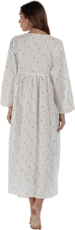 The1forU Camicia da Notte 100/% Cotone da Donna Lungo Vittoriano Camicia da Notte Esther