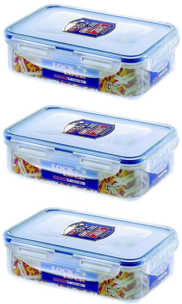 3 X Lock & Lock Food Storage 550ml Rectangular Box HPL815