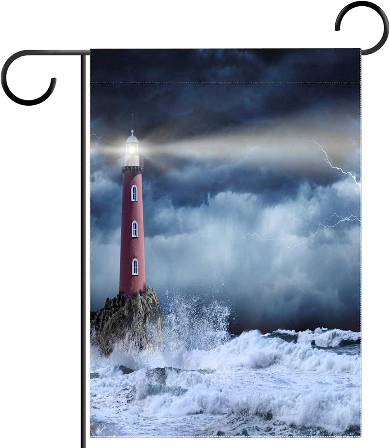 Jojogood Garden Flag Double Sided Stormy Lighthouse Welcome House Flag,28x40 Inch Outside Garden Yard Signs for Outdoor Indoor Party Lawn Decoration