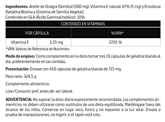 Aceite de onagra 500 mg. (10% gla) 450 perlas