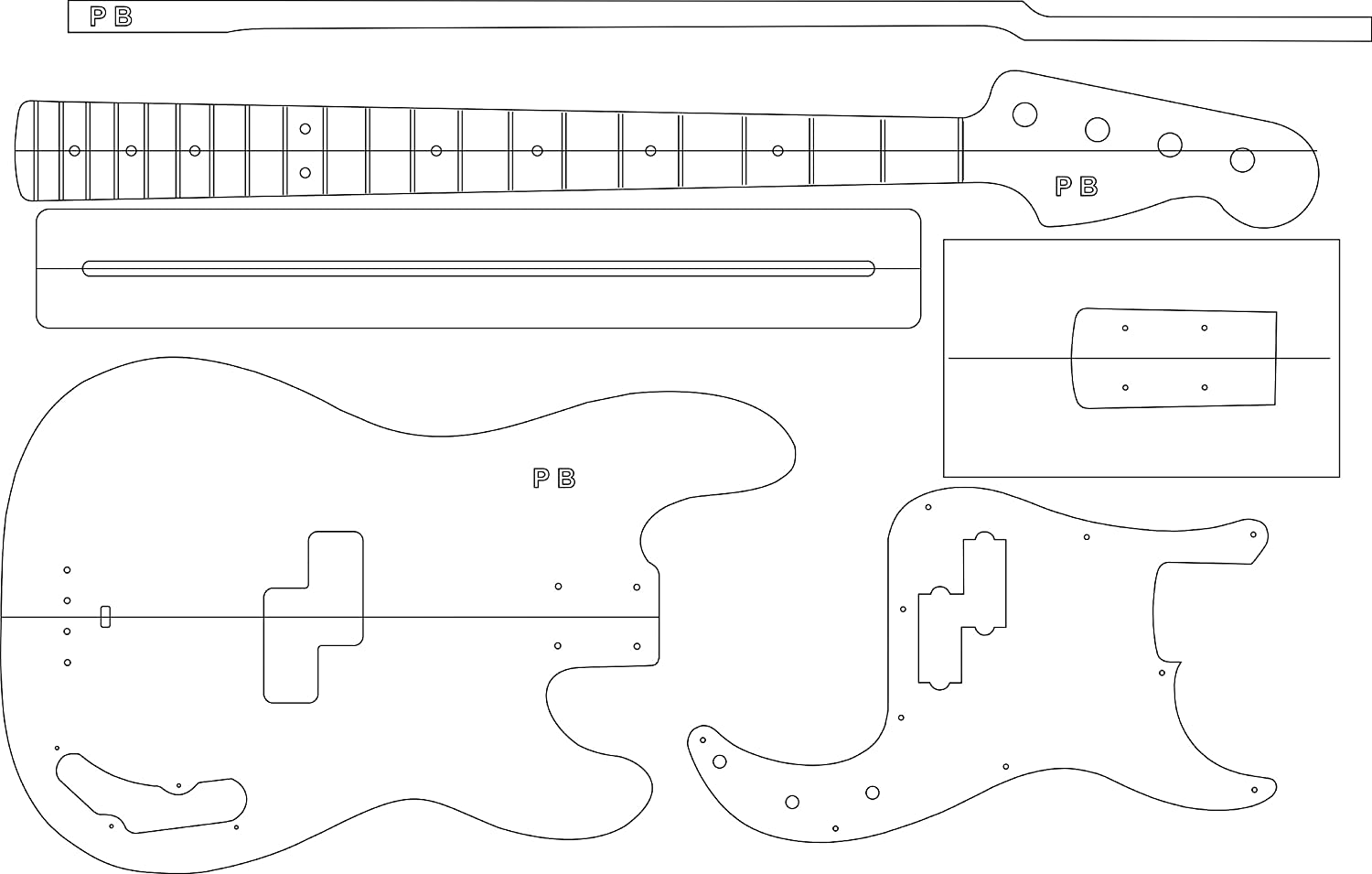 Amazon Electric Guitar Layout Template P Bass Musical