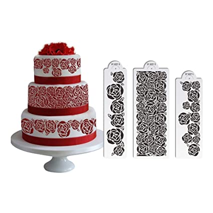ART Kitchenware 3pcs Set Rose Flower Wedding Stencil For Cake Side Decoration Plastic Border