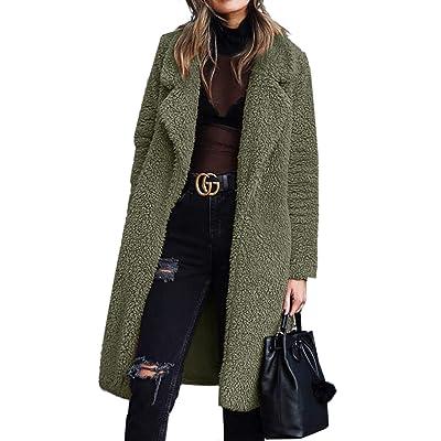 Angashion Women's Fuzzy Fleece Lapel Open Front Long Cardigan Coat Faux Fur Warm Winter Outwear Jackets with Pockets at Women's Coats Shop