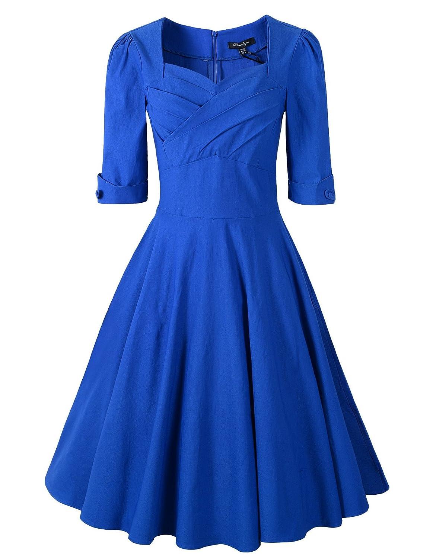 Penelope Vintage 1950s Vintage Half Sleeve Rockabilly Swing Dress