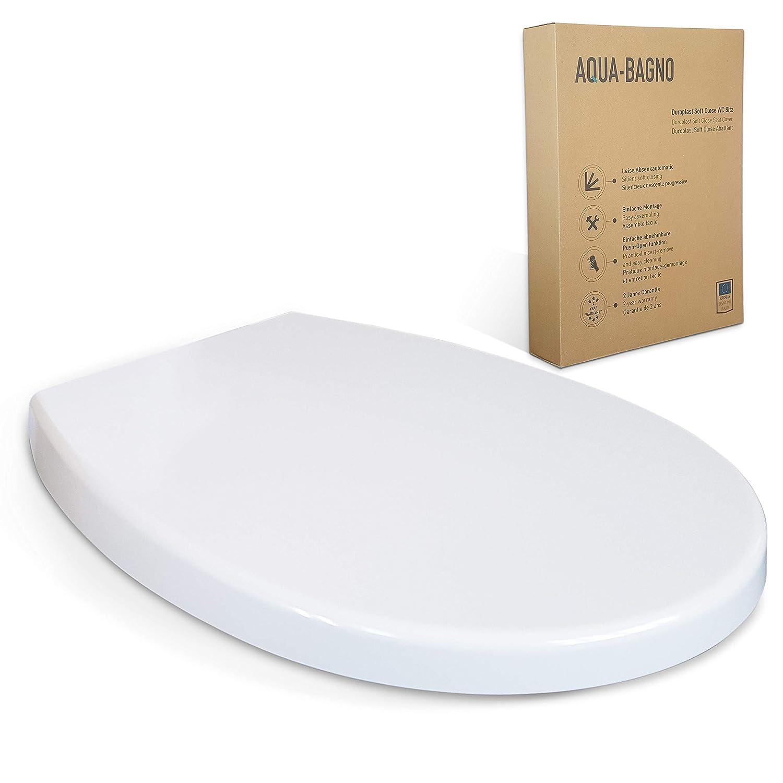 sedile WC di alta qualit/à in polipropilene con chiusura softclose ed estraibile Aqua Bagno Pearl D-Form Premium coperchio WC easyclean sedile WC