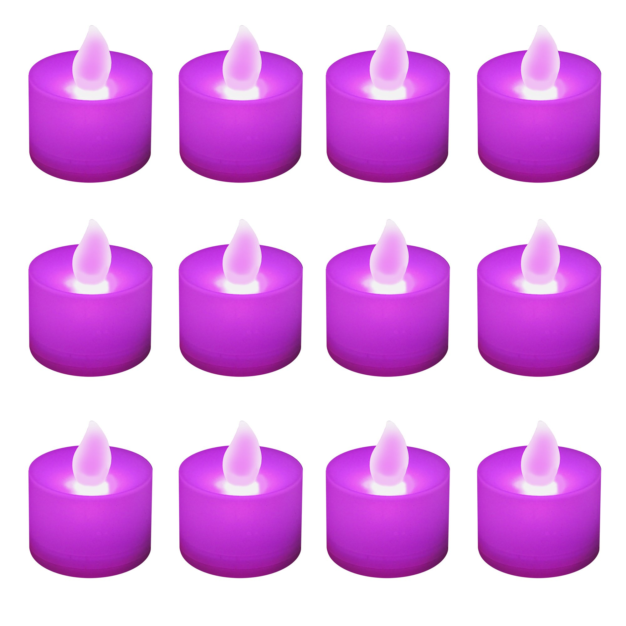 Lumabase 80112 12 Count Battery Operated Tea Lights, Purple by Lumabase