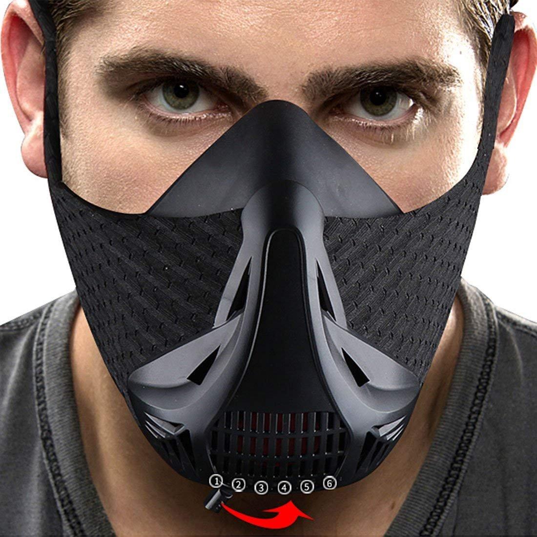 LEOSO training Mask sport allenamento per correre Biking fitness High altitude simulazione maschera per top performance limitando respirazione Mask 3.0 6 livello maschera, Black 6 Level LoveUlife