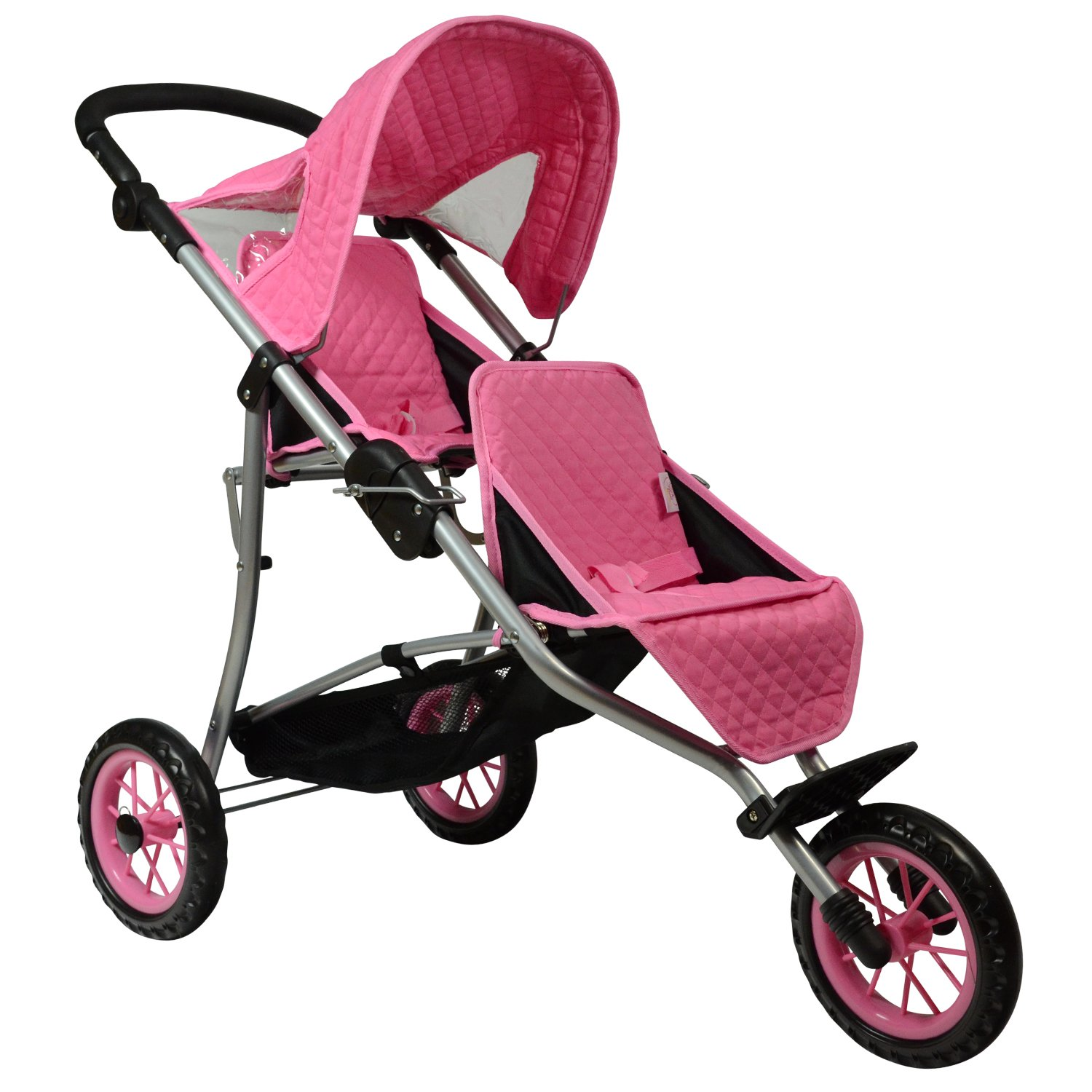 The New York Doll Collection Twin Jogging Stroller fits for 18 Inch Dolls, Pink Color, Adjustable Height