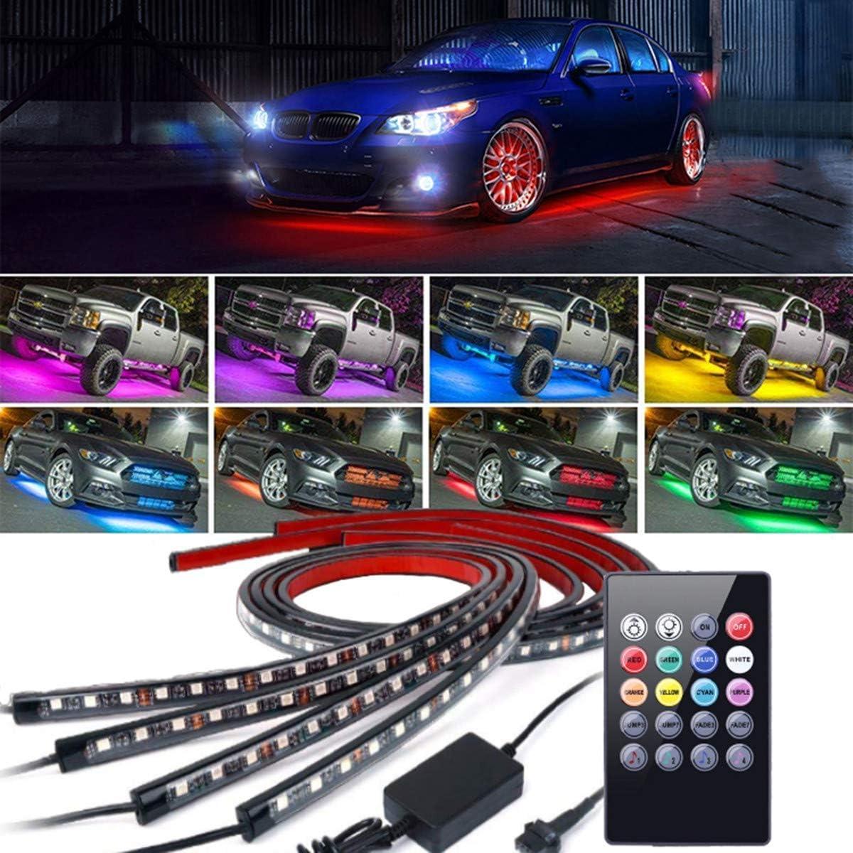 4 Pezzi Auto ad Alta intensit/à Neon Atmosfera Decorativa Striscia di Luce Sistema di sottoscocca Impermeabile Tubo RGB 8 Colore,60 Sottobagliore LED Light Kit 90