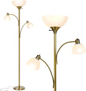Brightech Sky Dome Double – High Brightness Torchiere Floor Lamp with 2 Reading Lights for Living Rooms, Bedrooms – Replace Halogen Standing Lamps with Efficient LED Office Lighting - Tall Brass Pole