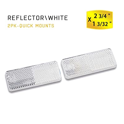 MFC PRO Rectangular Safety Stick-on Reflector Truck Trailer Warning Reflective Plate for Car Caravan Lorry Bus(White, 70x28mm): Automotive