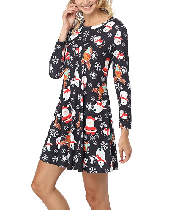 iGENJUN Women's Christmas Print Casual Long Sleeve Tunic Dress