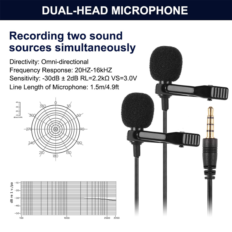und Videoaufzeichnung Blizim Externes Lavalier Kondensator Dual Mikrofon Audio