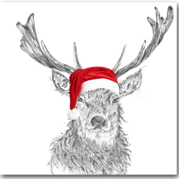 Christmas Hat Drawing.Luxury Christmas Card Christmas Stag With Santa Hat Pencil Drawing By Sarah Boddy Single Card White