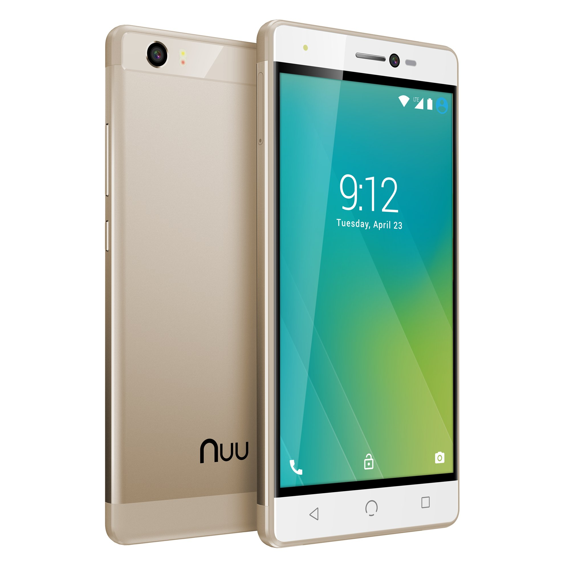 NUU Mobile M2 5.0'' HD LTE Android 7.0 Smartphone, Gold