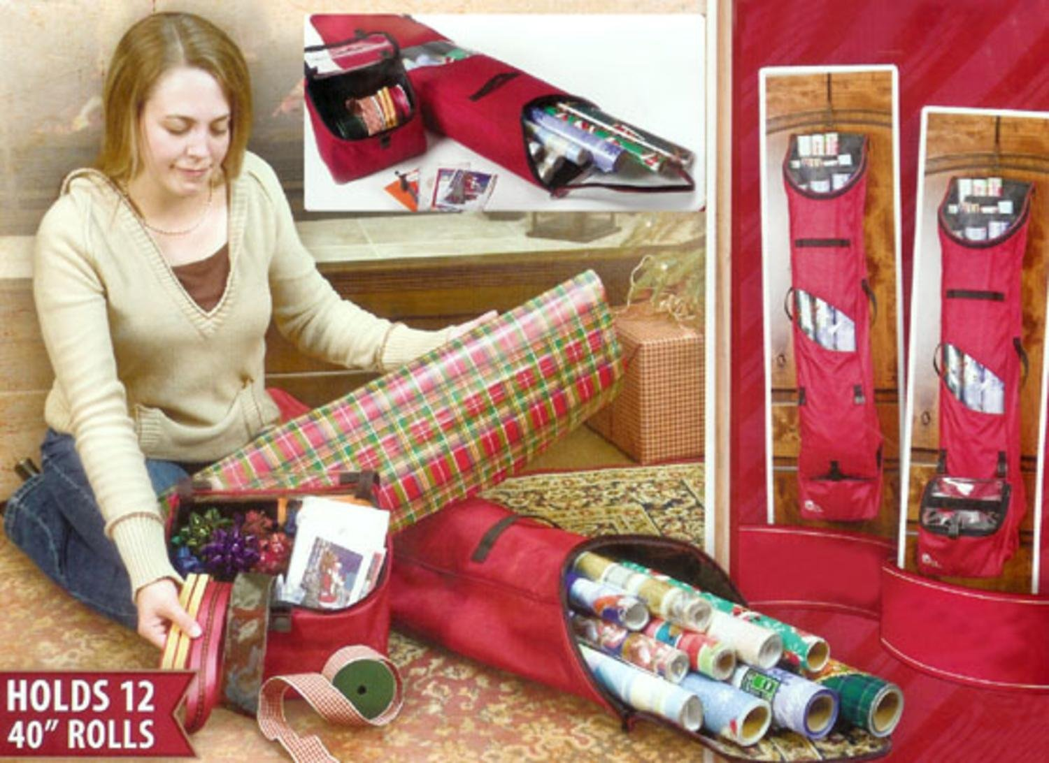 TreeKeeper Christmas Wrapping Paper Storage Bag - Holds 12 Rolls of Wrapping Paper