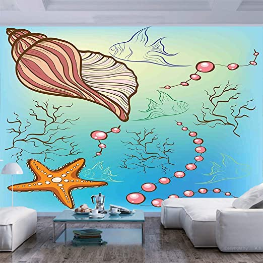 Amazon Com 77x30 Inches Wall Mural Under The Sea Theme Decor Pearls Shell Starfish Fish Nautical Decor Marine Life Image Peel And Stick Self Adhesive Wallpaper Removable Large Wall Sticker Wall Decor For Home Of