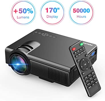 TENKER - Mini proyector de lúmenes, con pantalla grande LED, proyector de vídeo Full HD, compatible con