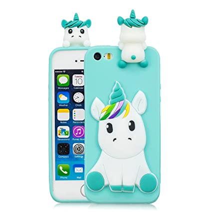 44509365fff Leton Funda iPhone 5s Silicona Unicornio 3D Suave Flexible TPU Carcasa iPhone  5s/5/
