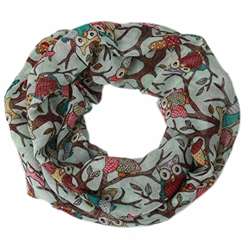 Kanpola Mujeres Señoras Buho Estampado O-anillo Collar Bufanda Caliente del Abrigo