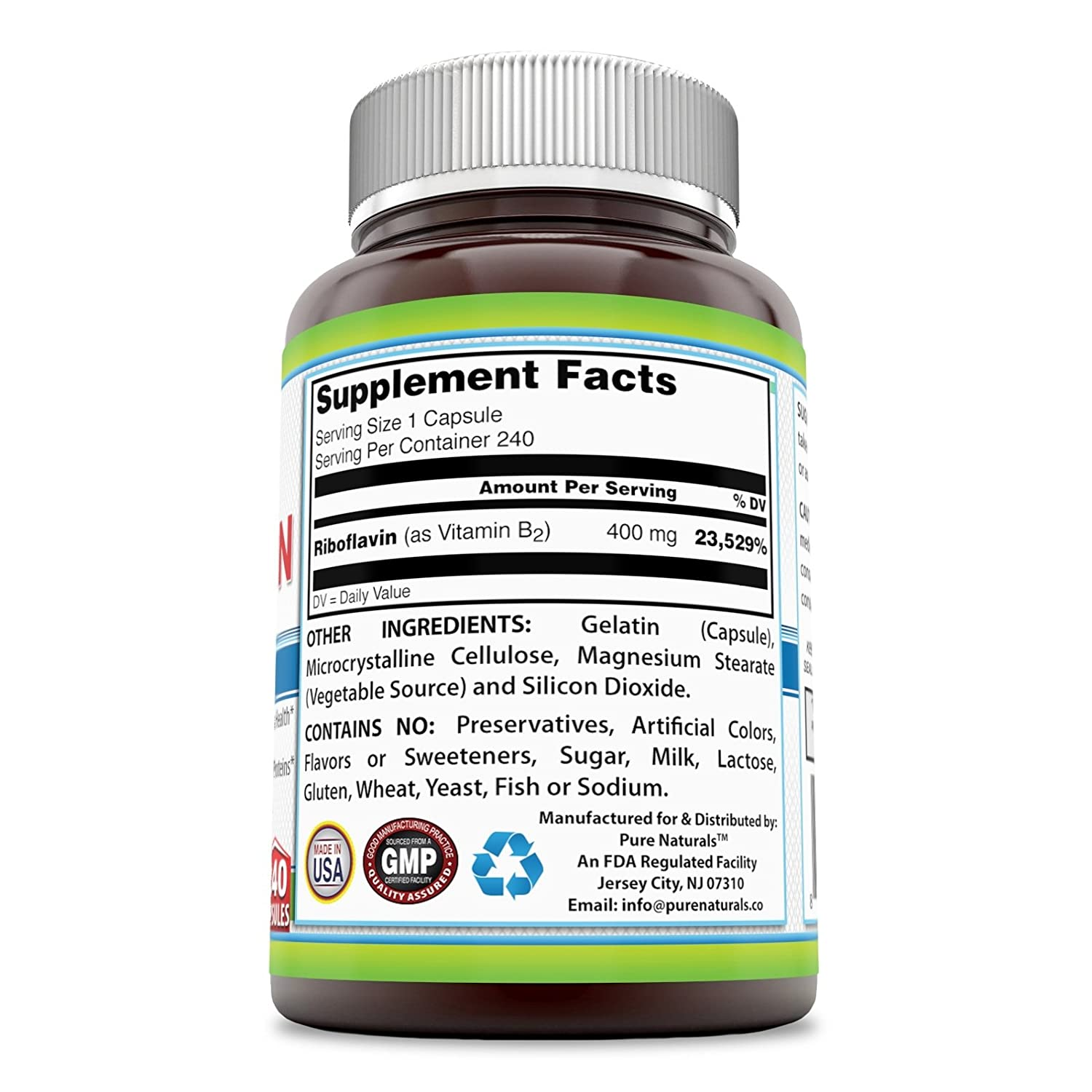 Pure Naturals Riboflavin 400 Mg, 240 Capsules -Supports Nervous System Health -Promotes...