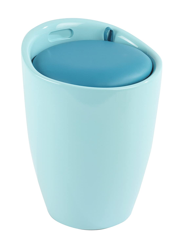 Wenko 21951100 -Sgabello da Bagno di plastica, Modello: Candy, Dimensioni: 38,5x 38,5x 53cm, Plastica, Blu Ghiaccio, 38.5x38.5x53.0 cm 21952100