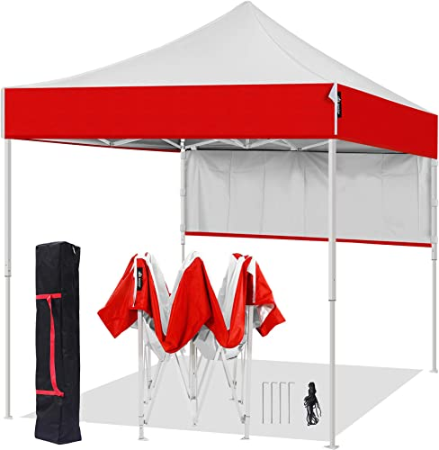 AMERICAN PHOENIX 8×8 Pop Up Tent Instant Outdoor Canopy Portable Shade Folding Tent Carry Bag White Red