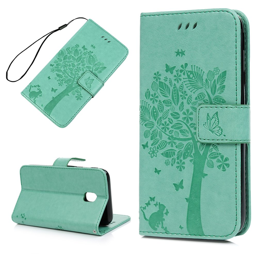 MAXFE.CO Case for Samsung Galaxy J3 2017 Flip [Tree & Flower] Embossed Premium PU Leather Wallet Cover Case Notebook Designed Full Body Shell with Card Cash Holders, Mint Green 188HPP781-01-HH-UK