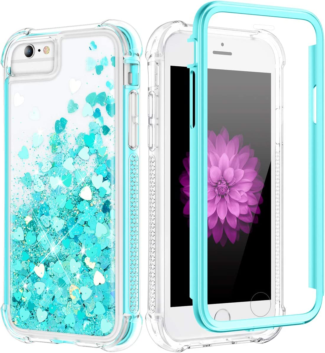 Caka Case for iPhone SE 2020, iPhone 6 6S 7 8 Glitter Case Liquid for Women Girls Bling Full Body Shockproof Love Floating Luxury Heavy Duty Clear Case for iPhone 6 6S 7 8 SE 2020 (4.7 inch)(Teal)