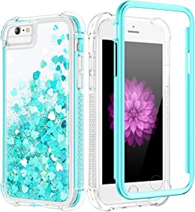 Caka Case for iPhone 8 Plus, iPhone 6 Plus 6S Plus 7 Plus 8 Plus Glitter Case Liquid Bling Women Girls Girly Shockproof Protective Full Body Glitter Case for iPhone 6 Plus 6S Plus 7 Plus 8 Plus (Teal)